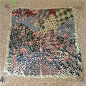 Johnny Was Silk Floral Square Scarf with Tassels
